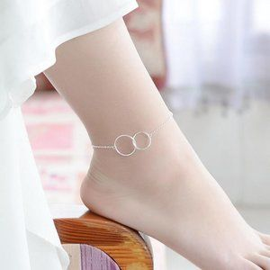 NEW 925 Sterling Silver Double Circle Anklet